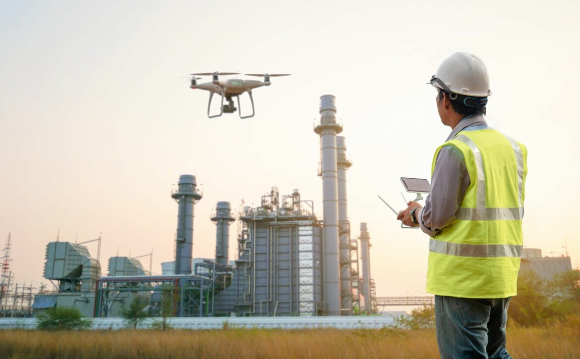 Drone inspection. Operator inspecting construction building  tur